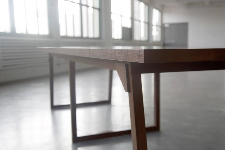 Hand-Crafted Familj Solid Wood Dining Table in Dark Walnut For Sale
