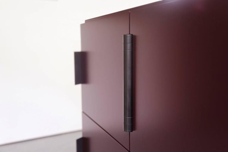 American Contemporary Nocturne Cabinet in Oxblood, with Blackened Steel Hardware For Sale