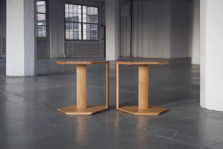 American Geometric Solid Wood Reflecting Side Tables by BELLBOY For Sale