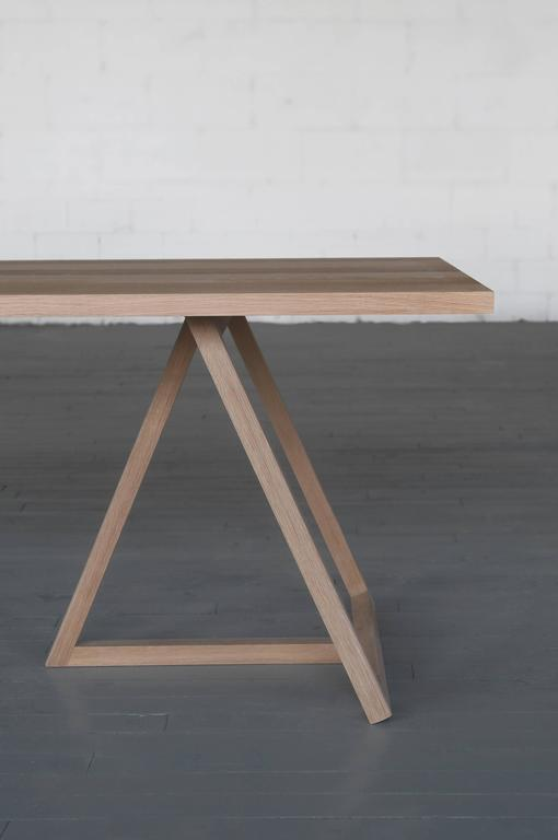 Minimalist Thales Dining Table, Solid White Oak Geometric Base  For Sale