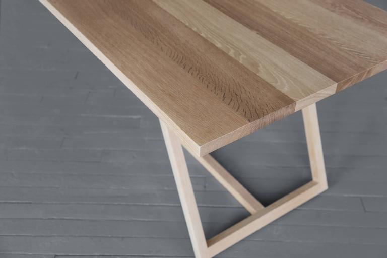 Hand-Crafted Thales Dining Table, Solid White Oak Geometric Base  For Sale