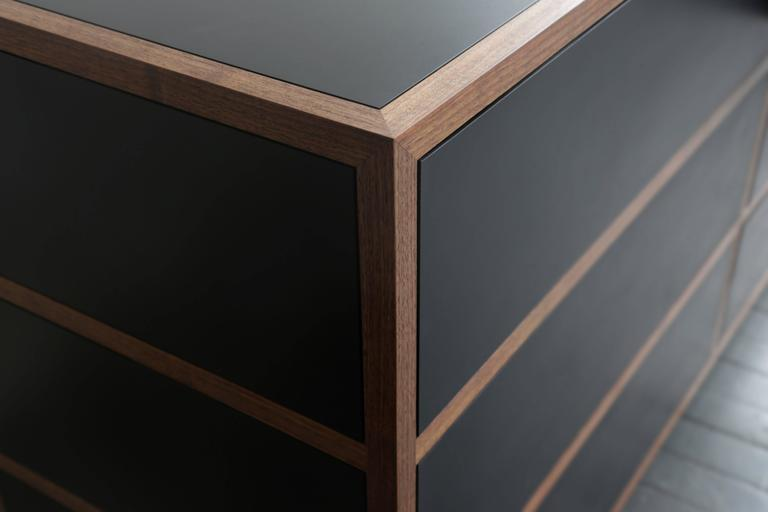 Driver Chest of Drawers in Waxed Paper Composite and Oiled Walnut In New Condition For Sale In Brooklyn, NY