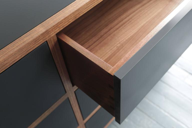 American Driver Chest of Drawers in Waxed Paper Composite and Oiled Walnut For Sale