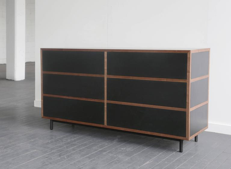 Blackened Driver Chest of Drawers in Waxed Paper Composite and Oiled Walnut For Sale
