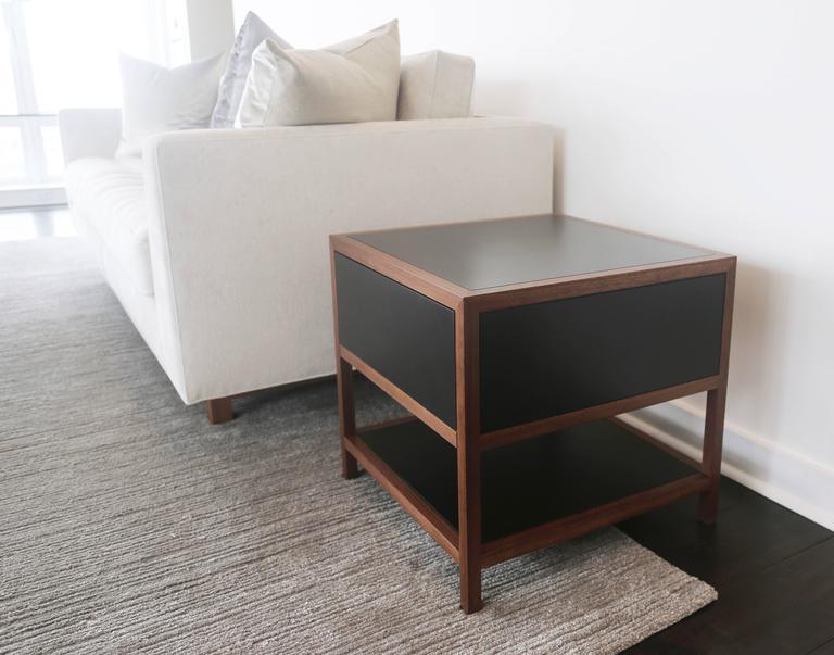 Driver Side Table in Black Paper Composite and Oiled Walnut, Single Drawer In New Condition For Sale In Brooklyn, NY
