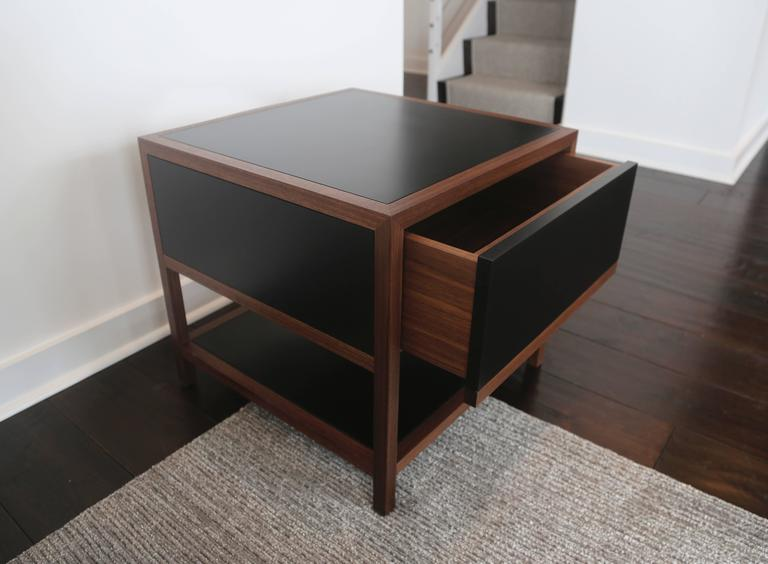 Ebonized Driver Side Table in Black Paper Composite and Oiled Walnut, Single Drawer For Sale