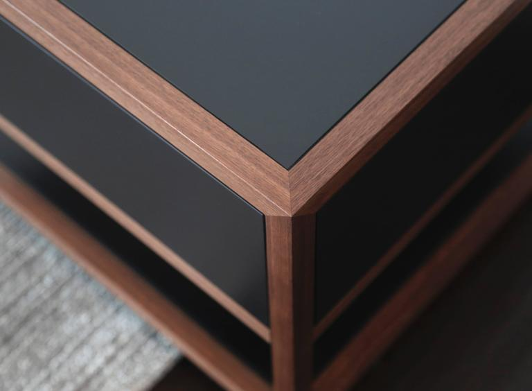 American Driver Side Table in Black Paper Composite and Oiled Walnut, Single Drawer For Sale