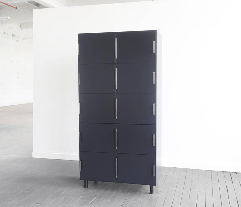 Nocturne Cabinet in Blue, with Blackened Steel Hardware For Sale 2