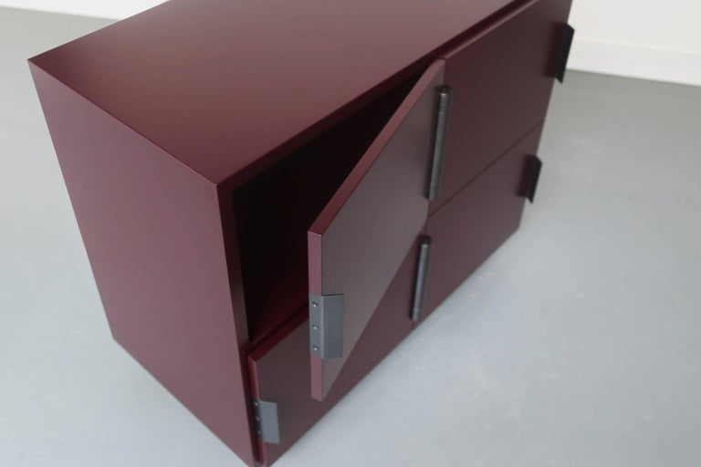 Other Contemporary Nocturne Cabinet in Oxblood, with Blackened Steel Hardware For Sale