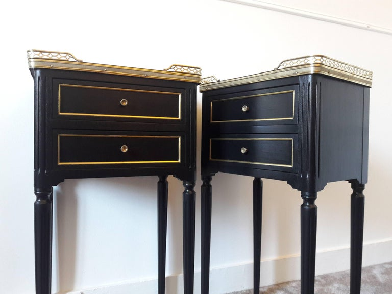 Pair of French Louis XVI Style Marble Nightstands For Sale 4