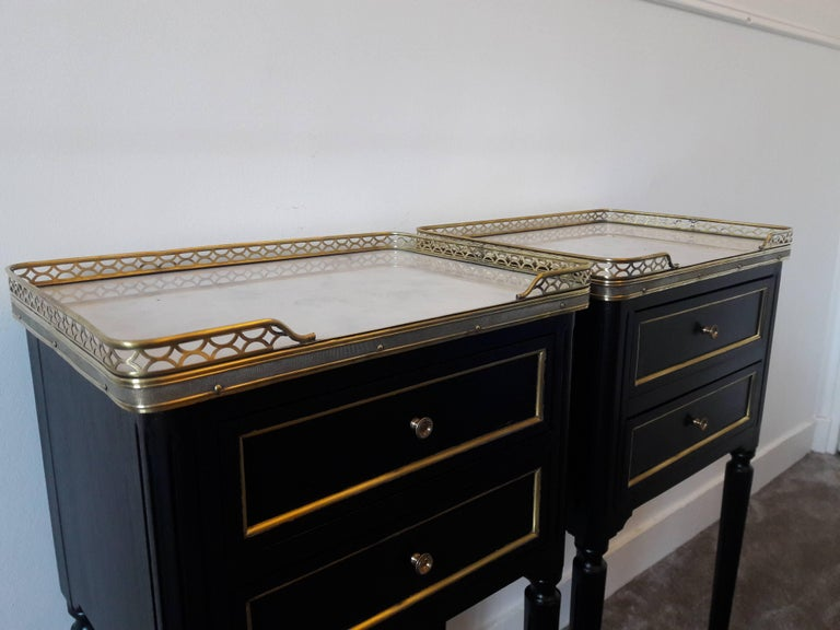 Pair of French Louis XVI Style Marble Nightstands For Sale 5