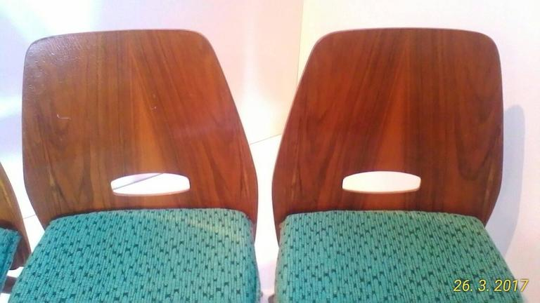 Czech Set of Four Art Deco Dining Chairs in Beech For Sale