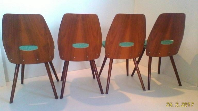Oiled Set of Four Art Deco Dining Chairs in Beech For Sale