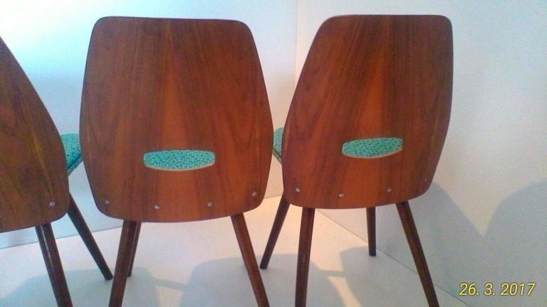 Set of Four Art Deco Dining Chairs in Beech For Sale 2