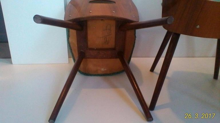 Set of Four Art Deco Dining Chairs in Beech For Sale 1