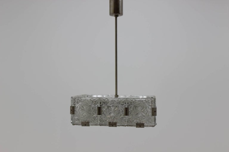 Midcentury pendant chandelier Kamenicky Šenov, Czech Republic, 1970s In Excellent Condition For Sale In Barcelona, ES