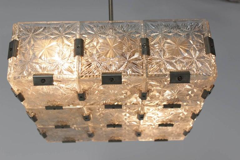 Late 20th Century Midcentury pendant chandelier Kamenicky Šenov, Czech Republic, 1970s For Sale