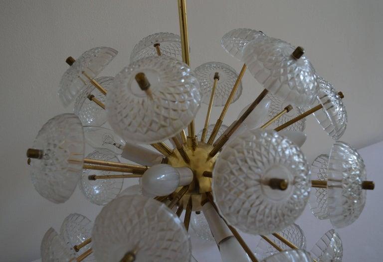 Czech Midcentury Big Pendant Chandelier Dandelion Sputnik Kamenický Senov, 1970s For Sale