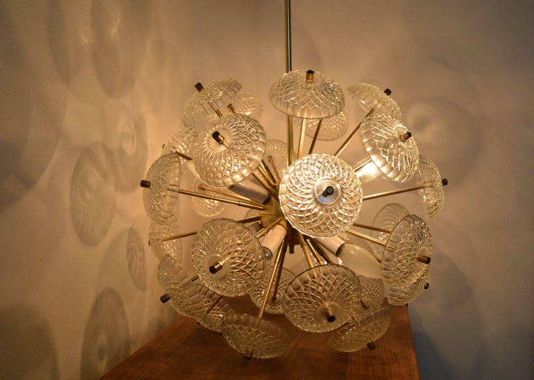 Brass Midcentury Big Pendant Chandelier Dandelion Sputnik Kamenický Senov, 1970s For Sale