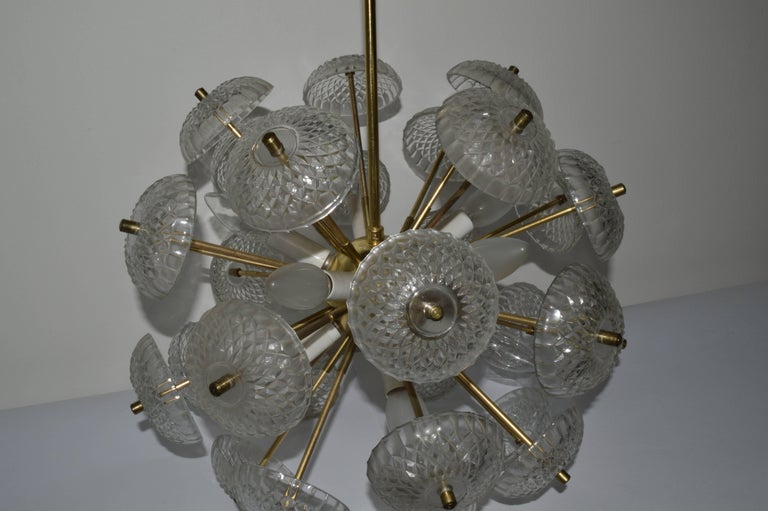 Late 20th Century Midcentury Big Pendant Chandelier Dandelion Sputnik Kamenický Senov, 1970s For Sale