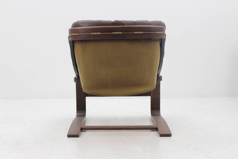 Danish 1970s Scandinavian Bentwood Leather Lounge chair by Ake Fribytter for Nelo Mobel