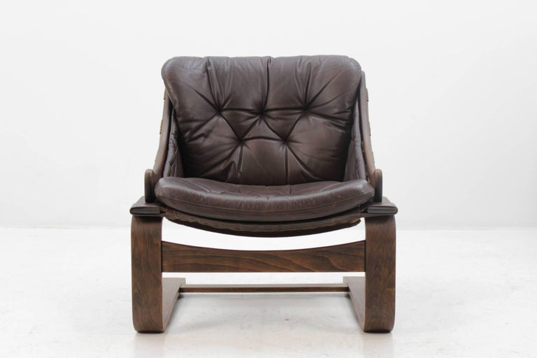 Mid-Century Modern 1970s Scandinavian Bentwood Leather Lounge chair by Ake Fribytter for Nelo Mobel