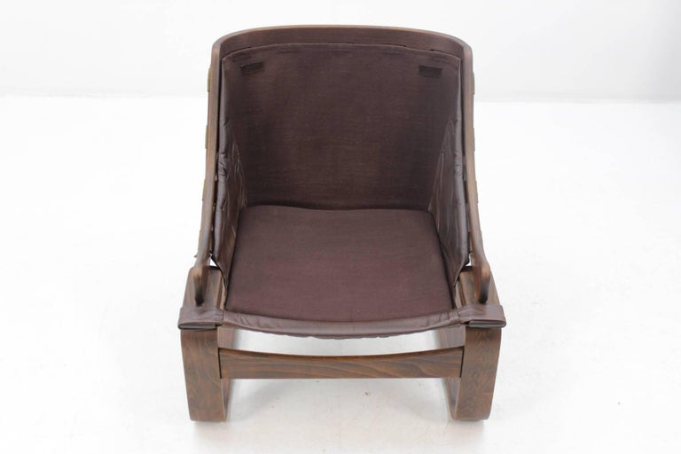 1970s Scandinavian Bentwood Leather Lounge chair by Ake Fribytter for Nelo Mobel 1