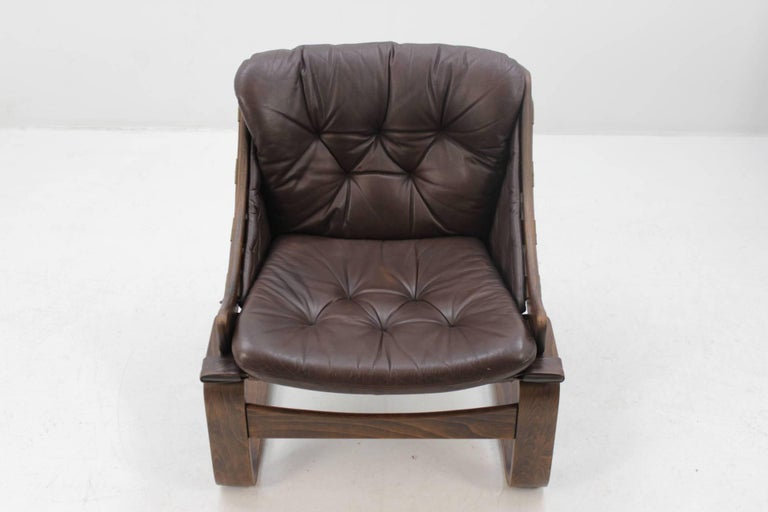 Late 20th Century 1970s Scandinavian Bentwood Leather Lounge chair by Ake Fribytter for Nelo Mobel