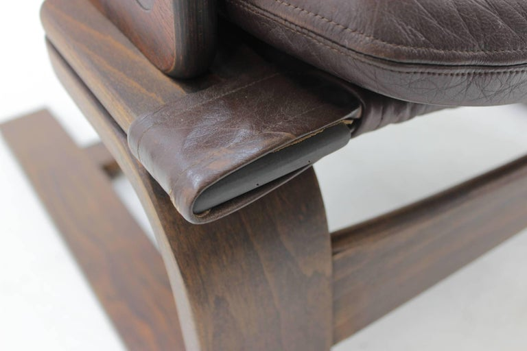 1970s Scandinavian Bentwood Leather Lounge chair by Ake Fribytter for Nelo Mobel 2
