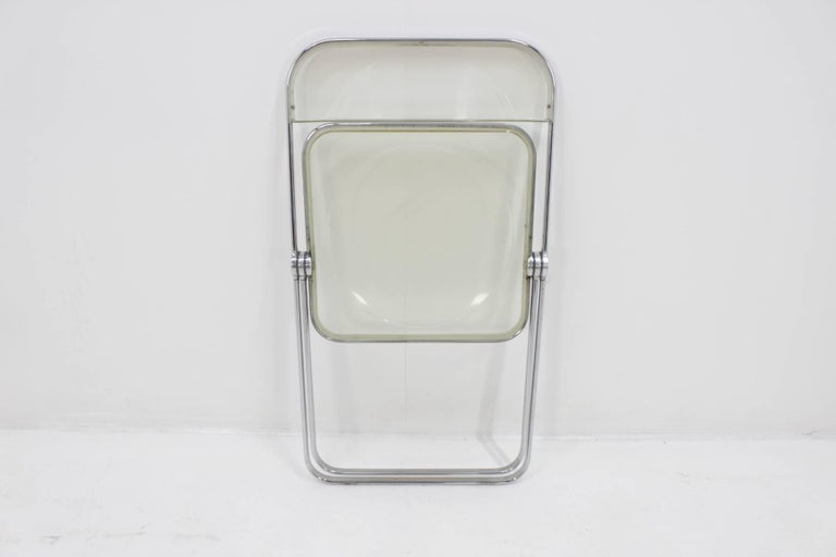 Steel Midcentury Folding Chair Plia by Giancarlo Piretti for Castelli, 1960s. For Sale