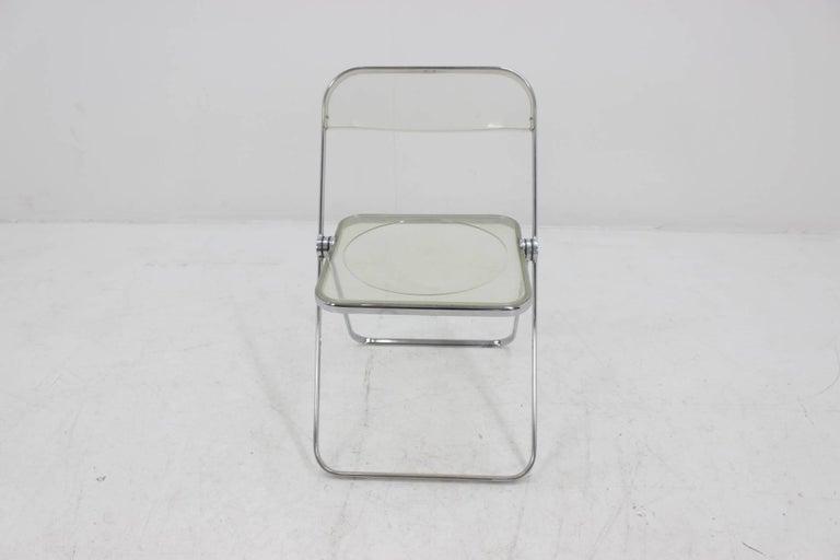 Italian Midcentury Folding Chair Plia by Giancarlo Piretti for Castelli, 1960s. For Sale