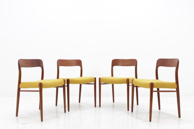 Mid-Century Modern 1960 Niels O. Møller Model 75 Chairs in Teak for J.L. Møllers, Set of Four For Sale