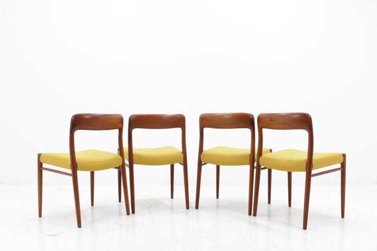 Danish 1960 Niels O. Møller Model 75 Chairs in Teak for J.L. Møllers, Set of Four For Sale