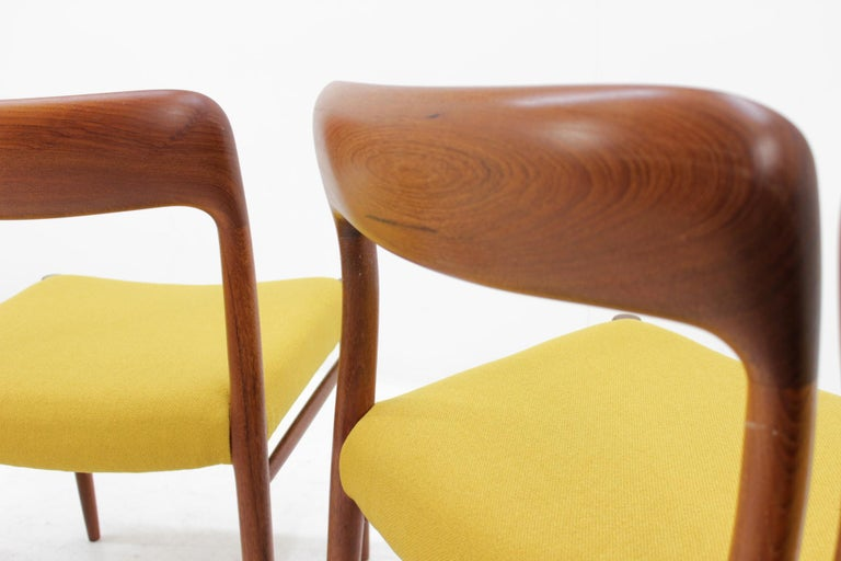 1960 Niels O. Møller Model 75 Chairs in Teak for J.L. Møllers, Set of Four In Good Condition For Sale In Barcelona, ES