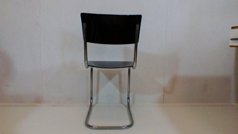 Plywood Retro Chromed Chair by Jindřich Halabala, 1930s For Sale