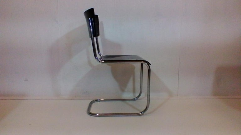 Mid-Century Modern Retro Chromed Chair by Jindřich Halabala, 1930s For Sale