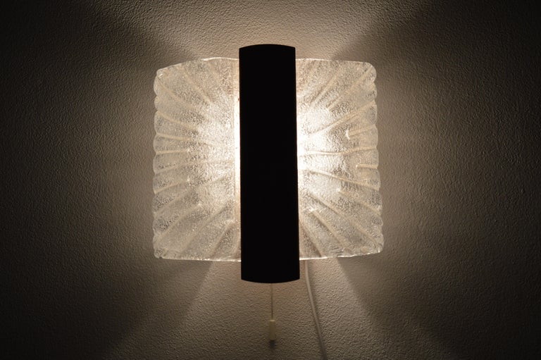 Italian Barovier & Toso Sconces Wall Light Murano, Ice Glass Lamp, 1970s For Sale 5