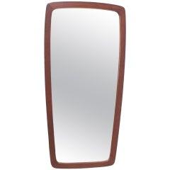 Danish Rectangular Oval Teak Mirror, 1960