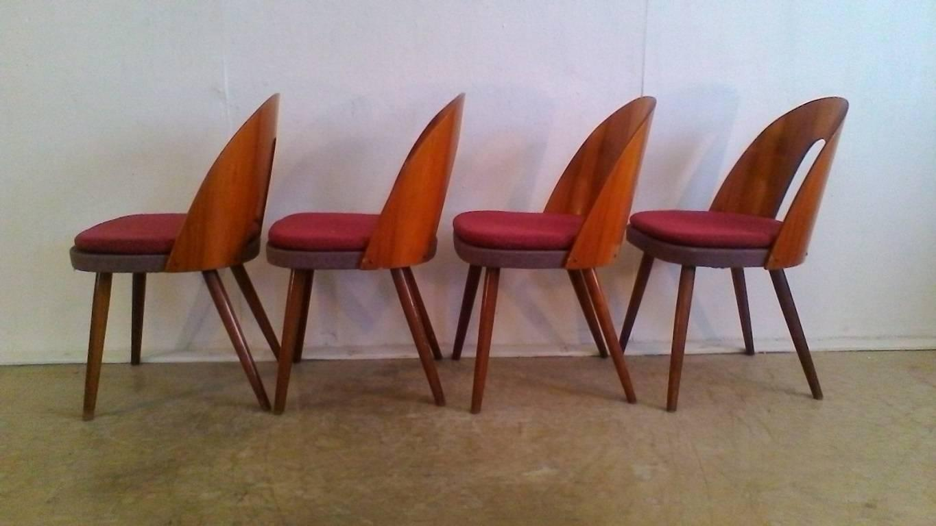 Set Of Four Beechwood Chairs, Back Of The Chairs Is Walnut Veneer,  Upholstered Seat