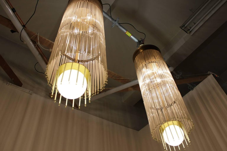 Mid-Century Modern Set of Four Midcentury Unique Huge Glass Chandeliers For Sale