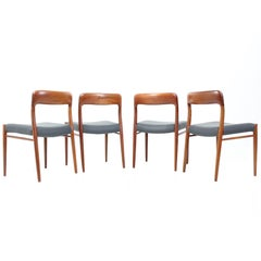 Set of Four Teak Dining Chairs Model 75 by Niels O. Møller