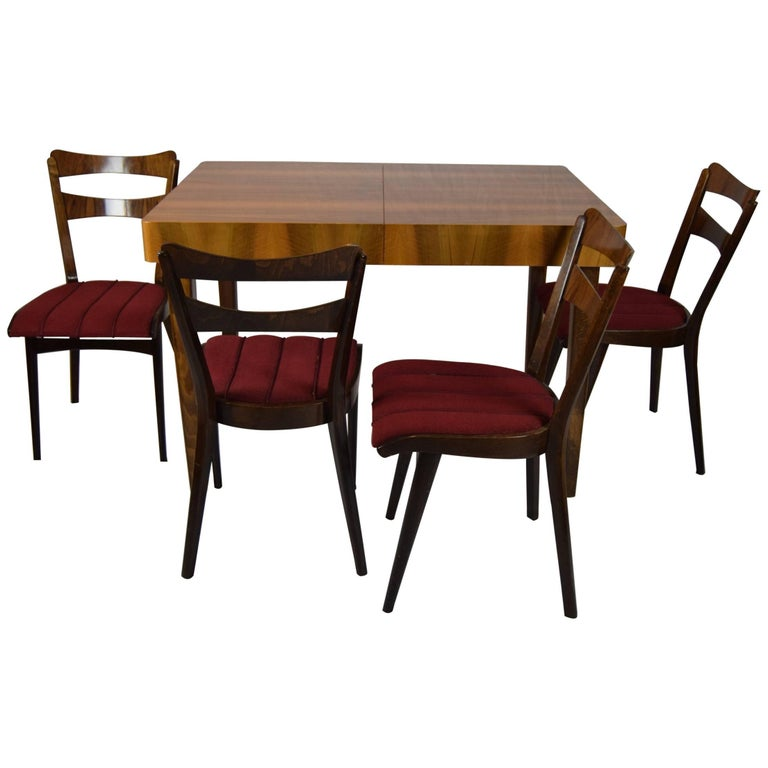 Set of Four Teak Dining Chairs and Dining Table, 1960s