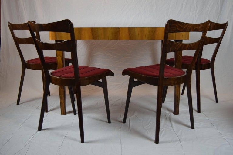Mid-20th Century Set of Four Teak Dining Chairs and Dining Table, 1960s For Sale