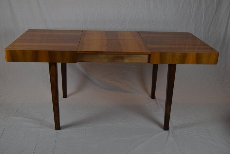 Upholstery Set of Four Teak Dining Chairs and Dining Table, 1960s For Sale