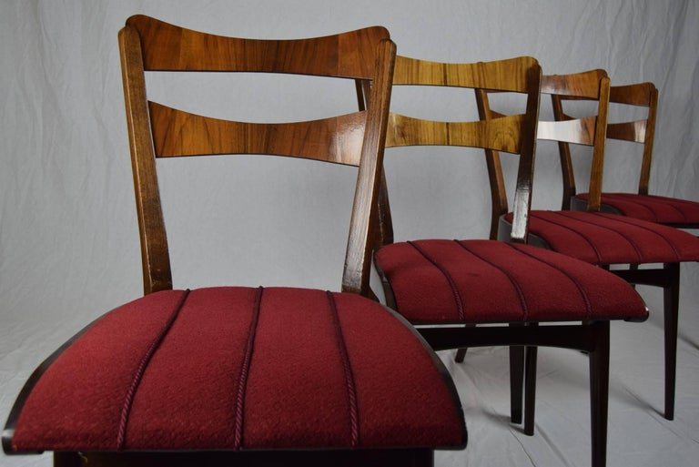 Set of Four Teak Dining Chairs and Dining Table, 1960s For Sale 2
