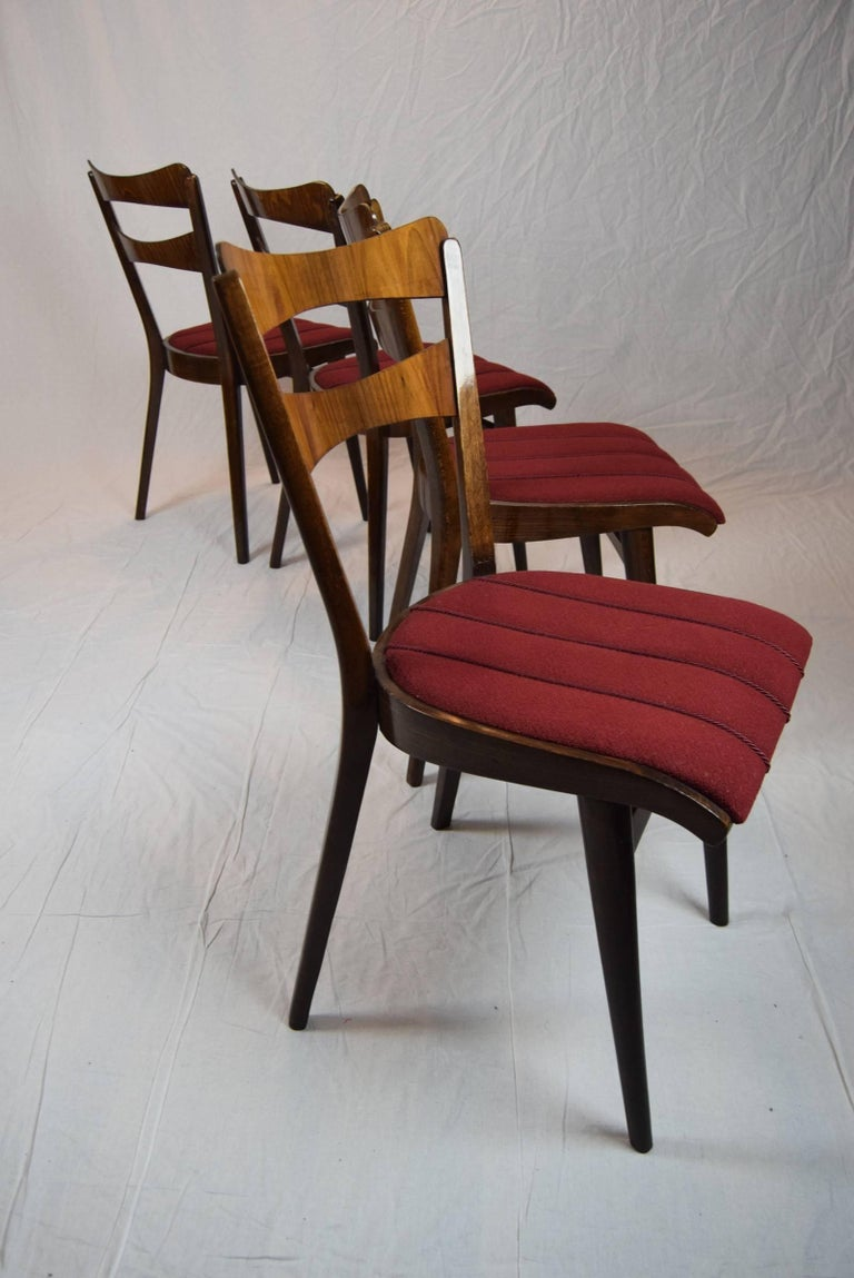 Set of Four Teak Dining Chairs and Dining Table, 1960s For Sale 3