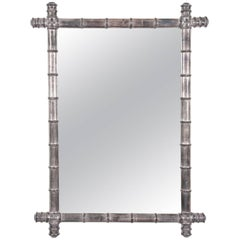 Silver Bamboo Mirror, French, Early 20th Century