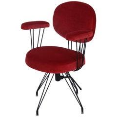 Red Velvet Desk Chair, French, 1960s