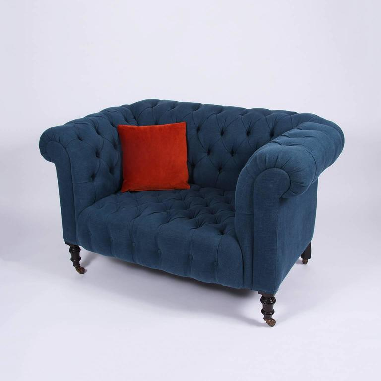 Small Chesterfield Sofa Or Loveseat With Mahogany Turned Legs On Original Castors Beautifully Re