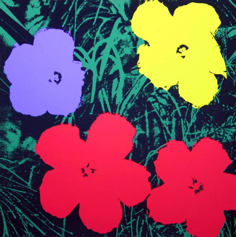 Flowers Screen Print, In the style of Warhol at 1stdibs